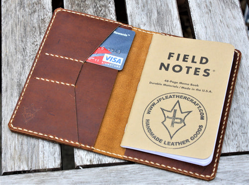 Handmade Cover for Field Notes Card Wallet SCRIBO Thoroughbred Leather Sunset Oil Tan Cream