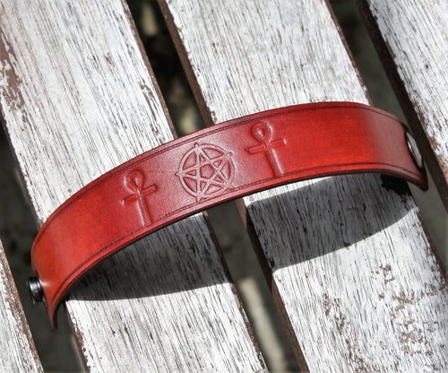 Wicca Leather Heathen Bracelet Pentagram Ankh Pagan