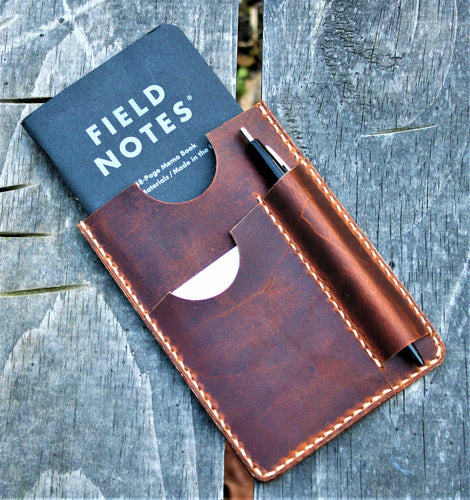 Handmade Cover Sleeve Field Notes Wallet NOTO Sunset Oil Tan Leather