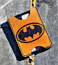 Handmade Leather Minimalist Wallet MINUS Tan Batman