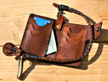 Handmade Leather Biker Wallet Vegetable Tanned The Mandalorian Brown