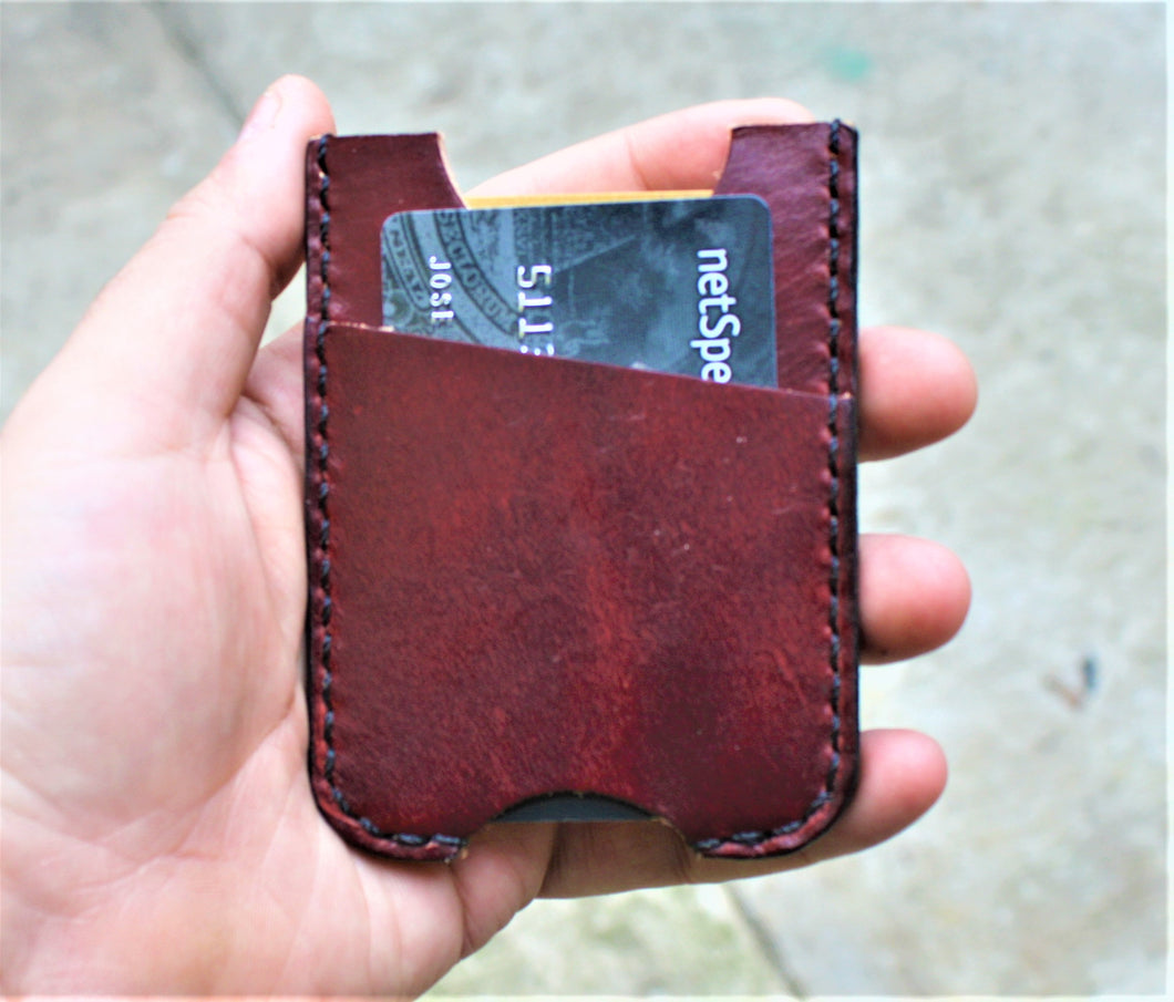 Handmade Leather Minimalist Wallet MINUS Wickett and Craig Burgundy Harness Money Clip