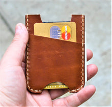 Handmade Leather Minimalist Wallet MINUS Wickett and Craig Buck Brown Harness Money Clip