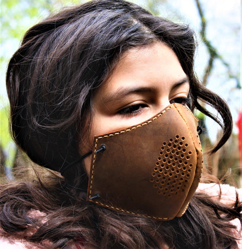 JP Leathercraft handmade face mask, Protective mask with filters, face shield, Sunset Oil Tan
