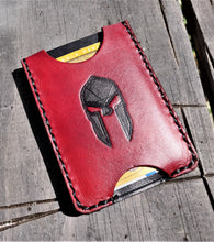 Handmade Leather Minimalist Wallet MINUS Heathen Black Red Spartan