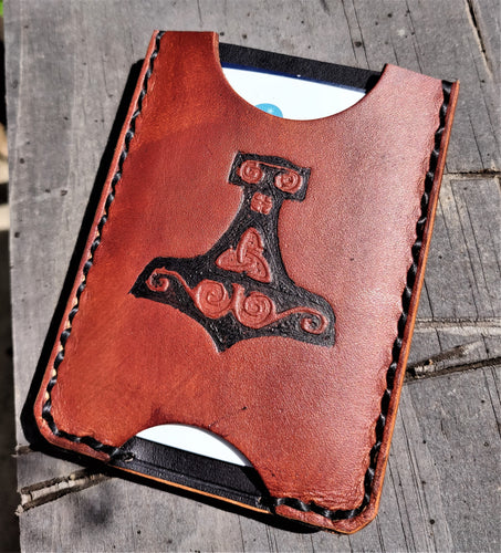 Handmade Leather Minimalist Wallet MINUS Heathen Black Brown Viking Mjolnir