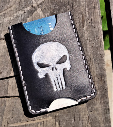 Handmade Leather Minimalist Wallet MINUS Black White Punisher