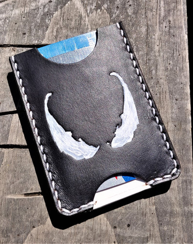 Handmade Leather Minimalist Wallet MINUS Black White Venom