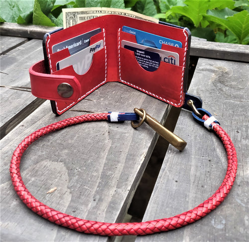 Handmade Leather Biker Wallet CURRUS Vegetable Tanned Blue Red with Braided Chain