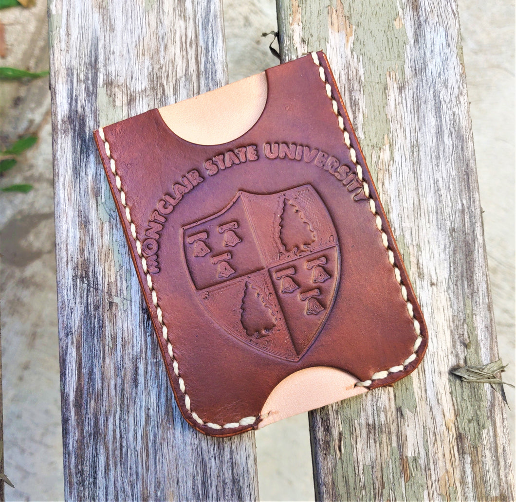 Handmade Leather Minimalist Wallet MINUS Brown Natural Montclair State University