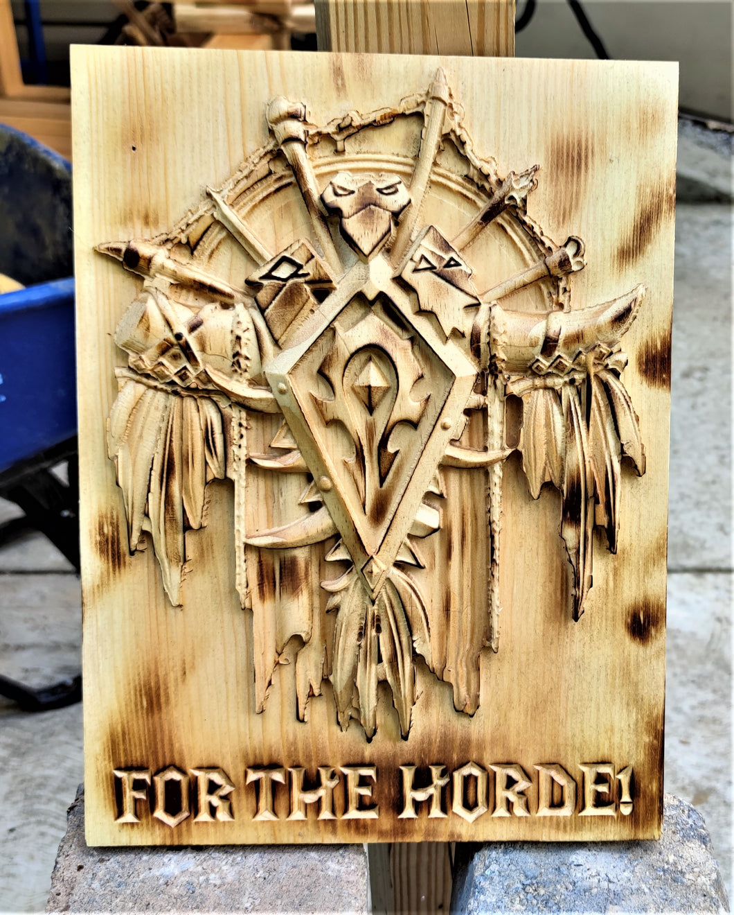 For the Horde 3D Carve Wood Sign World Of Warcraft Wall Art Horde Alliance Man Cave WoW