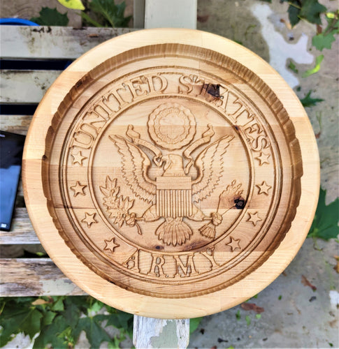 United States Army Military Valet 3D carve Wood Catchall Tray Dump Cellphone Keys Cady Baltic Birch Natural
