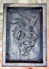 Dragon Skull Valet 3D carve Wood Catchall Tray Dump Cellphone Keys Cady Black Maple