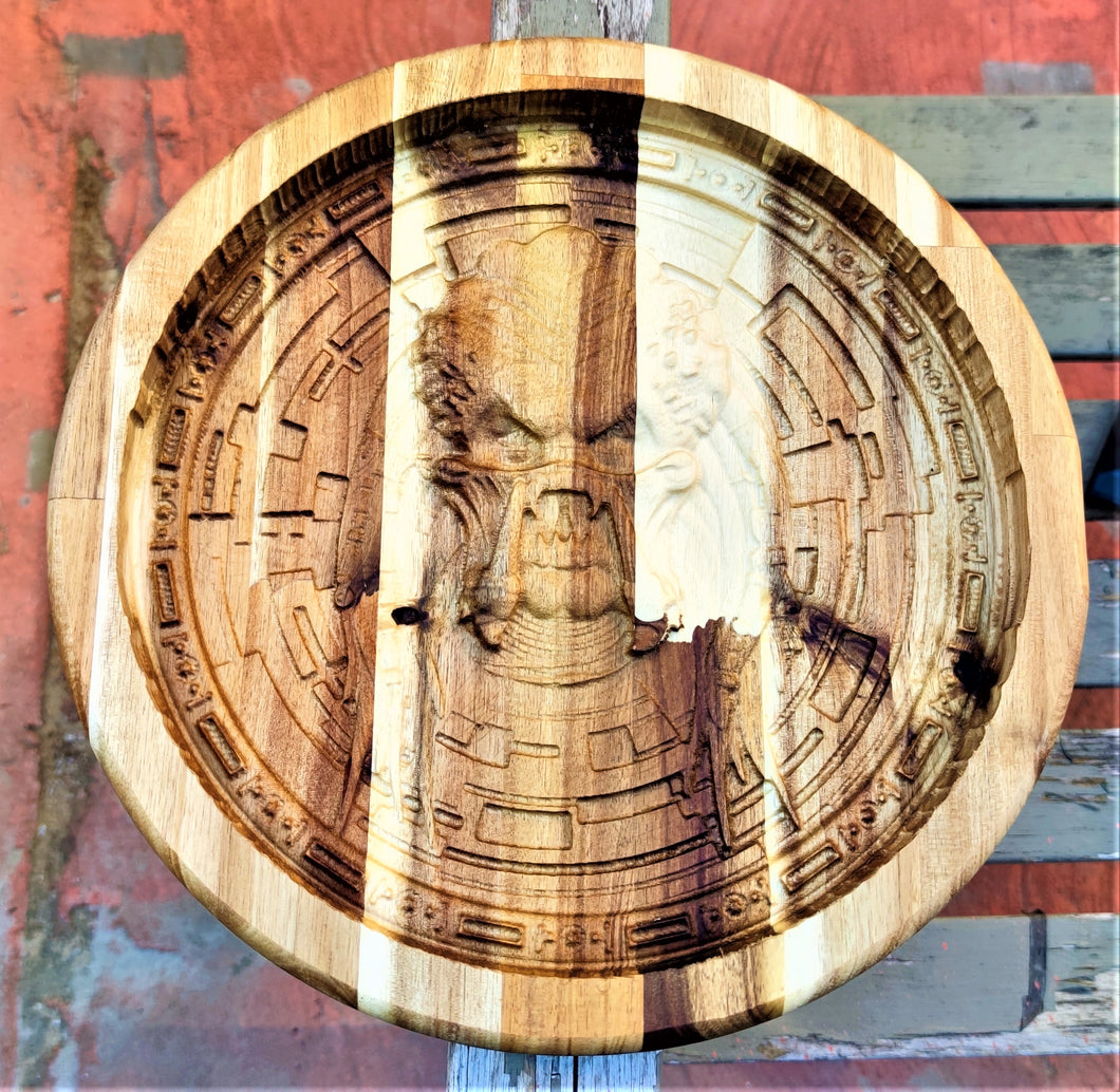 Predator Valet 3D carve Wood Catchall Tray Dump Cellphone Keys Cady Acacia Natural