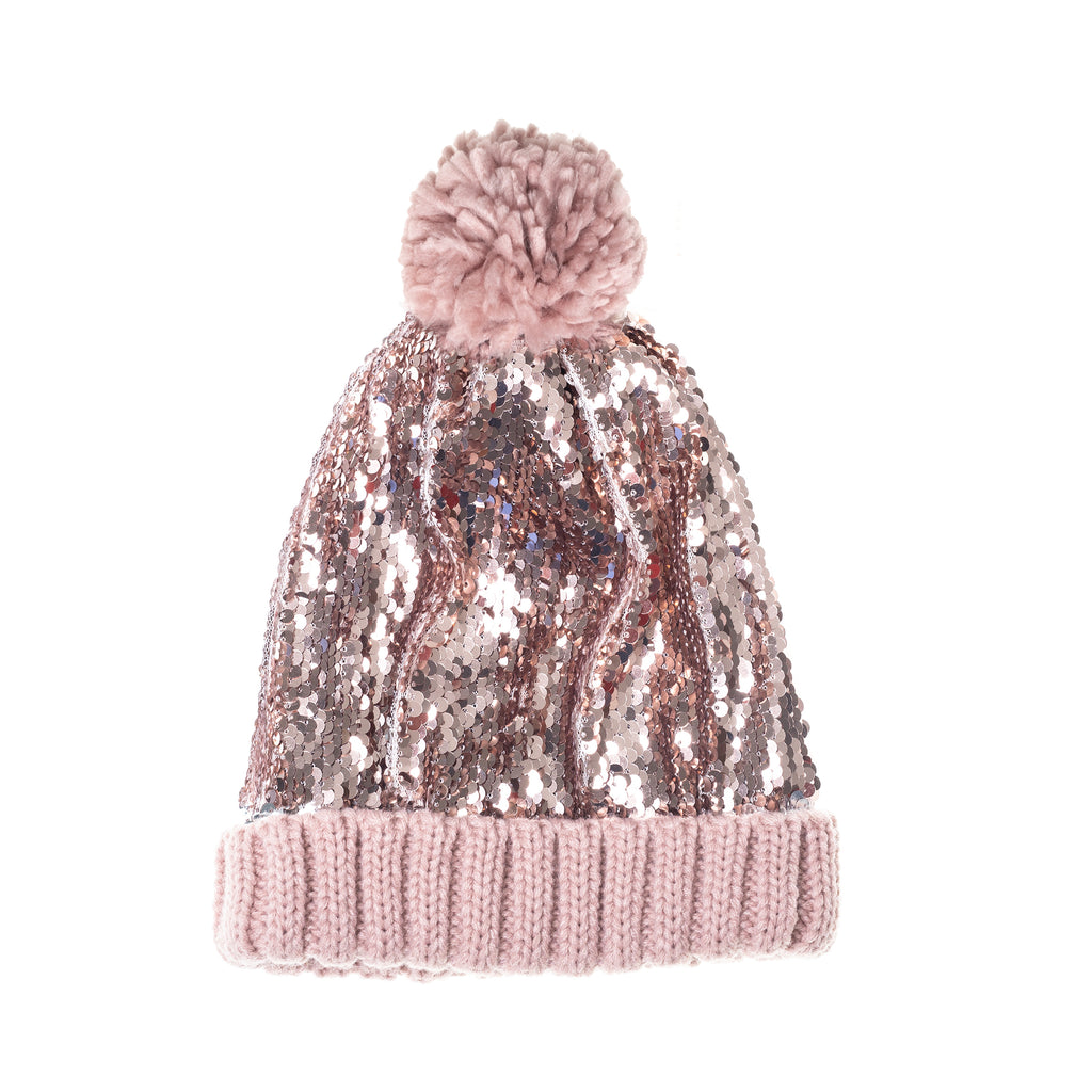 Super Sequin Bobble Hat Pink