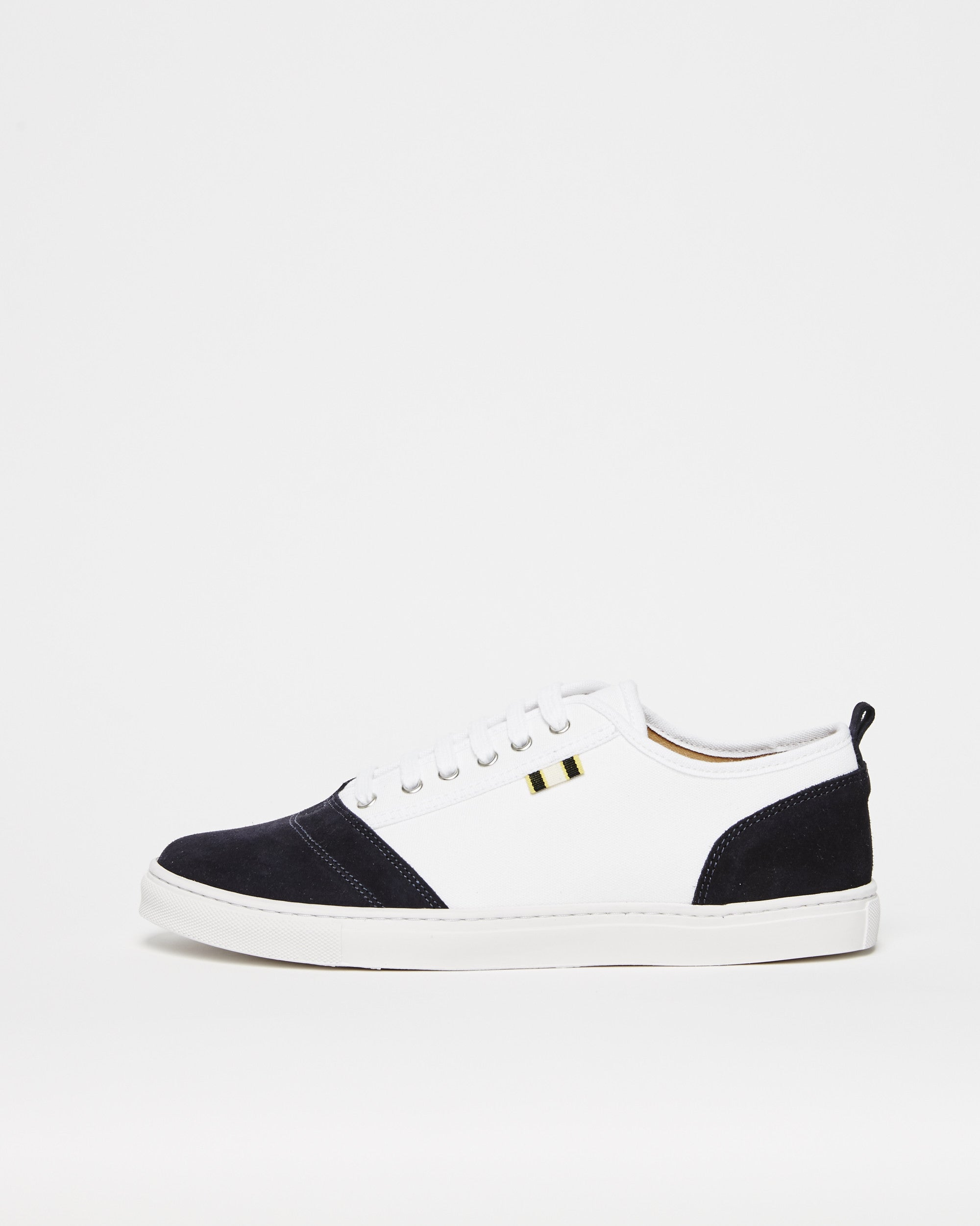APR001 - Suede & Canvas - White / Navy