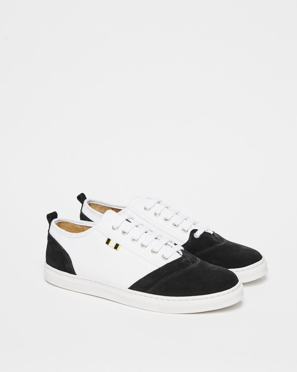 APR001 - Suede & Canvas - White / Black