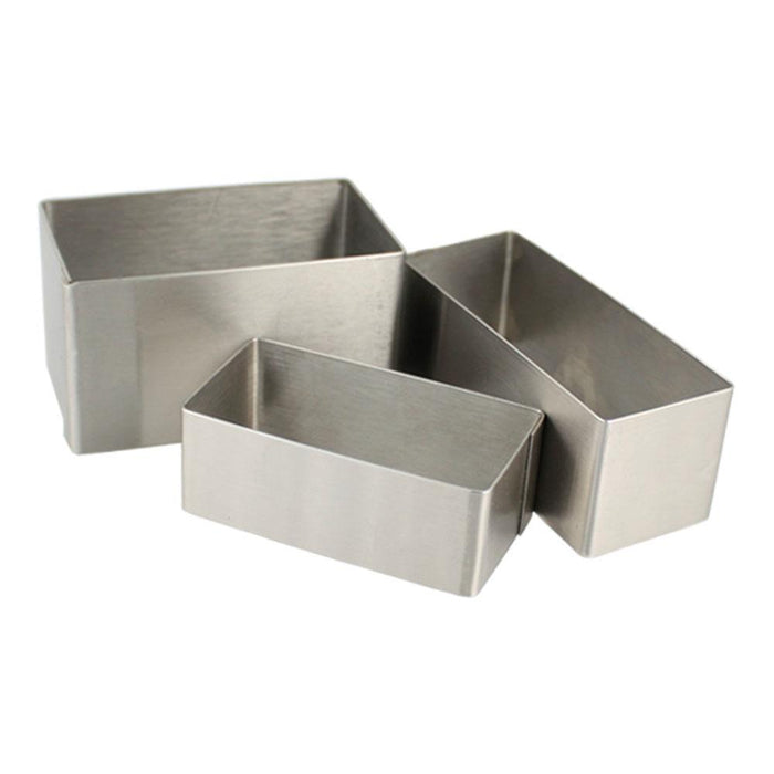 "2 3/8"" (60mm) High Stainless Steel Rectangle Molds"