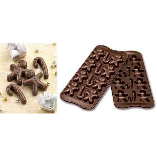 Gingerbread Man & Candy Cane Chocolate Silicone Mould