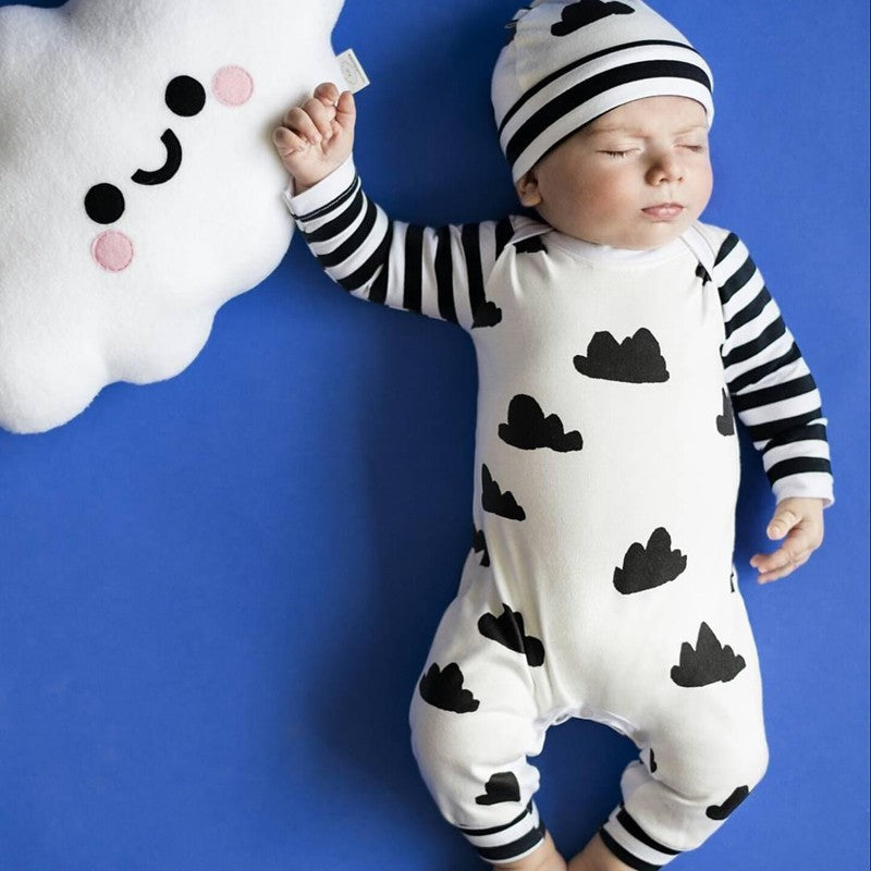 Black & White Cloud Romper with Beanie