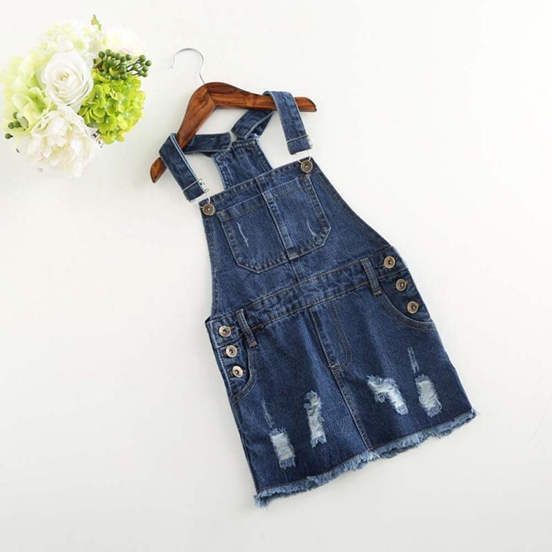 Distressed Denim Overall Dress