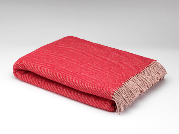 Cerise Tartan Wool Throw