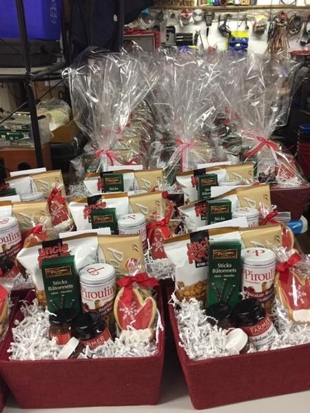 Gift Baskets containing local and international food products.