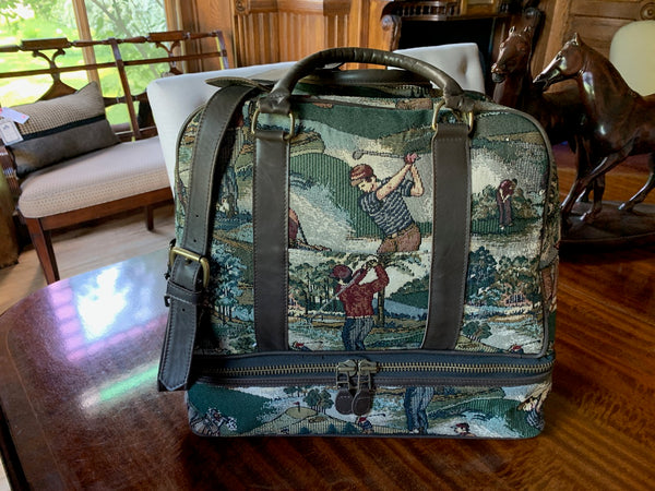 Forest Green/Brown Tapestry Belmont Bag