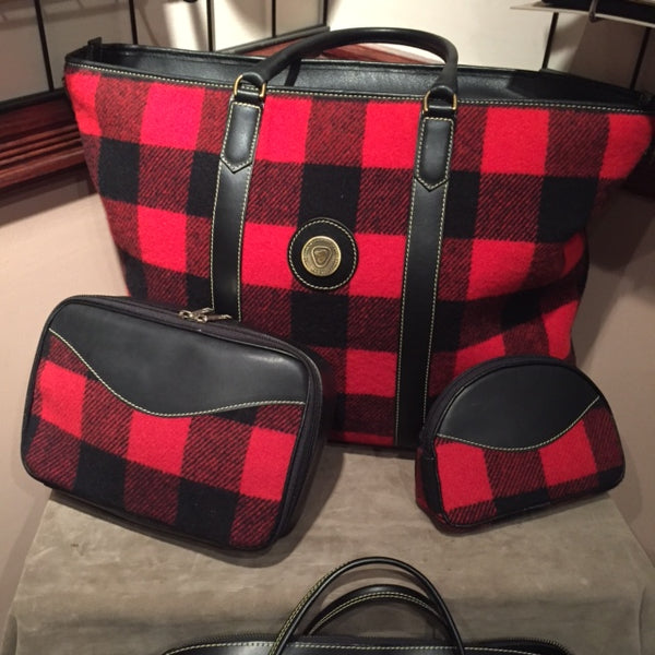 Red and Black Buffalo Check Wool / Leather Bags