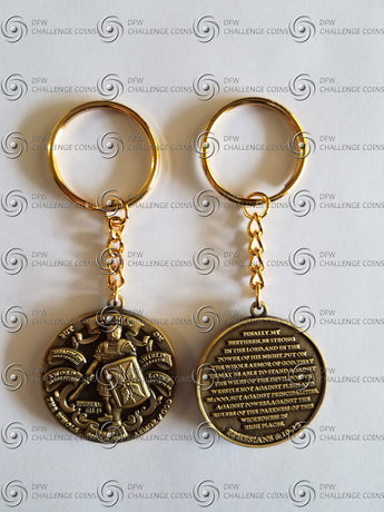 Full Armor of GOD! Key chain- Antique Brass