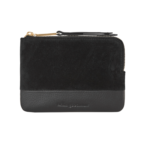 Lou Lou Leather Coin Purse (Black Suede/Black)