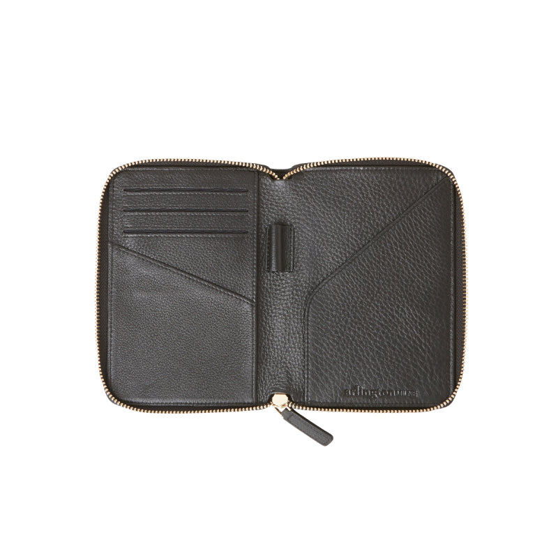 David Leather Passport Wallet (Black) - Arlington Milne