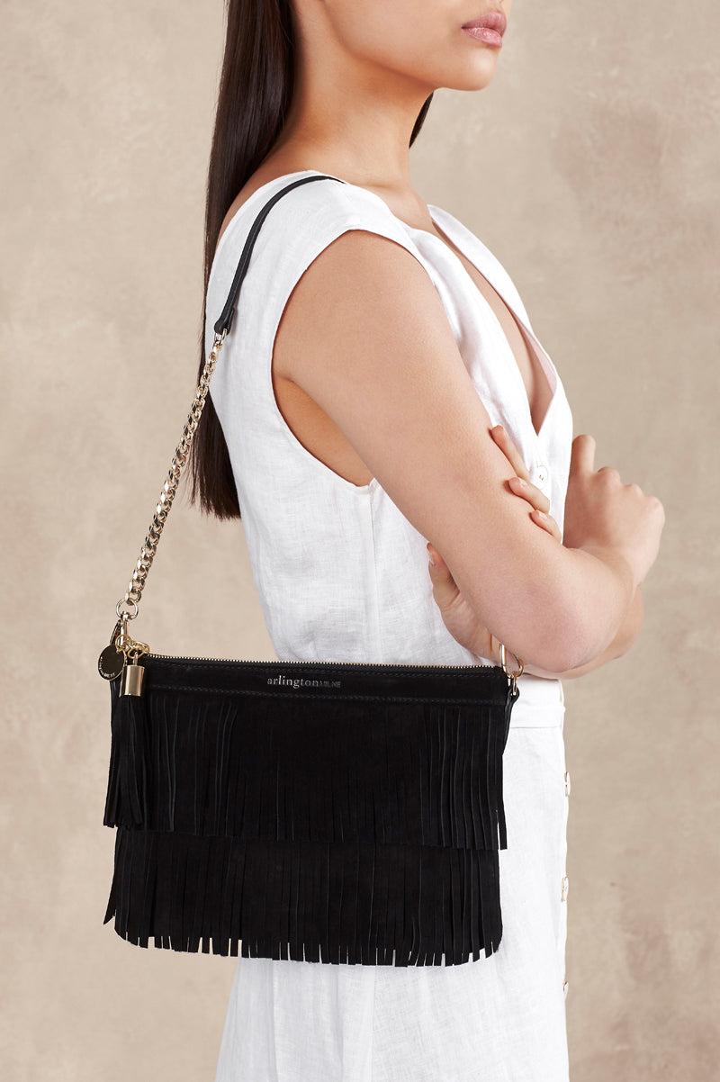 Coco Clutch - Special Edition Fringe - Black Pebble and Suede