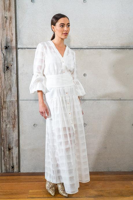 Gemma Maxi Dress - White Grid