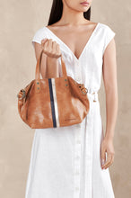 Paige Soft Tote Small - Vintage Tan,Navy Pebble & Rose Gold