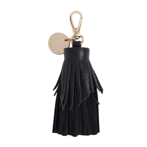 Tiered Leather Tassel (Black Pebble / Suede)