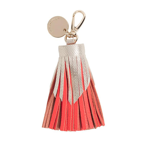 Tiered Leather Tassel (Gold Dot Tangerine)