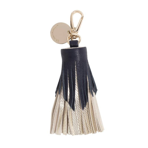Tiered Leather Tassel (Navy / Gold Dot)