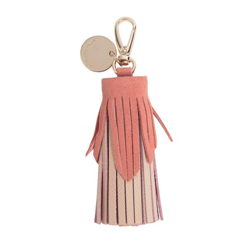 Tiered Leather Tassel (Nude / Blush)