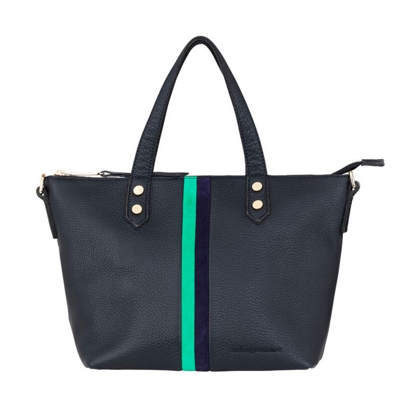 Paige Soft Tote Small - Navy & Emerald