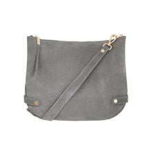 Olivia Leather Shoulder Bag (Grey Suede) - Arlington Milne