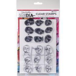 Dina Wakley Media Stamps - Funky Faces