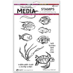 Dina Wakley Media Stamps - Scribbly Fishes