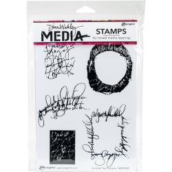 Dina Wakley Stamps - Scribbled Text Elements
