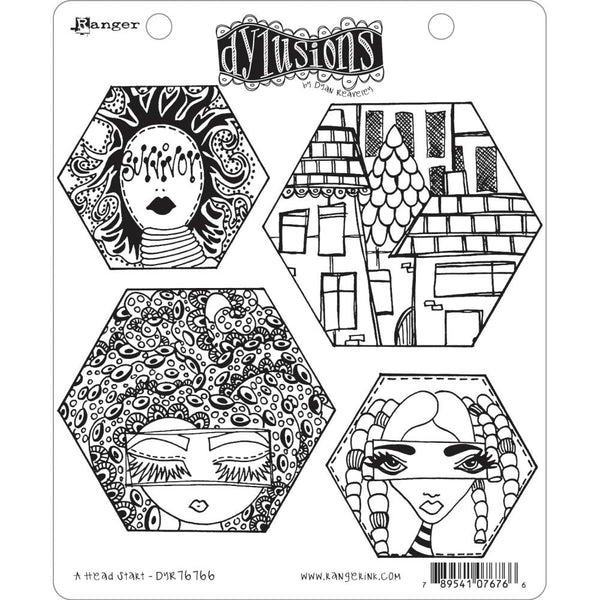 "Dylusions Head Start Cling Stamp Collections 8.5""X7"""