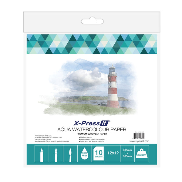 "XPress It - 12x12"" Pack of 10 Aqua Watercolour Paper"