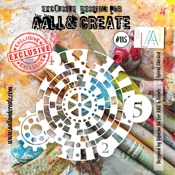 Aall & Create Stencil #115 Spiral Checked