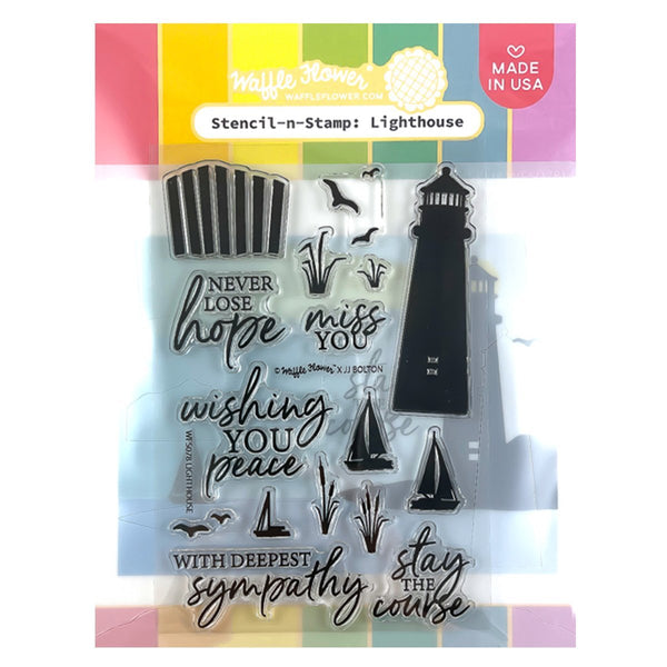 Waffle Flower Stencil-n-Stamp - Lighthouse