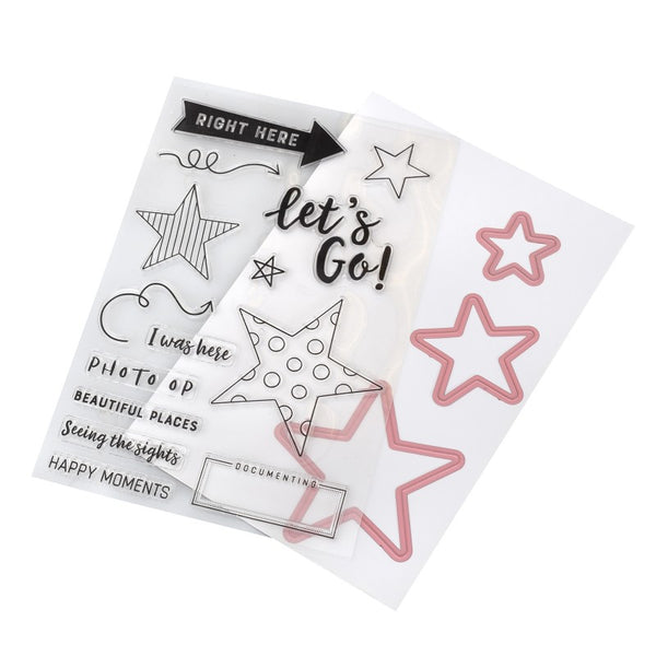 Vicki Boutin Let's Go Stamps & Dies  W/Magnetic Sheet & Pouch
