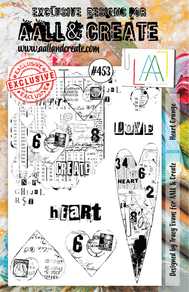 Aall & Create Rubber Stamps #453 Heart Grunge
